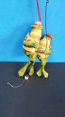 Father And Son Frogs Fishing Figurine Ornament Christmas