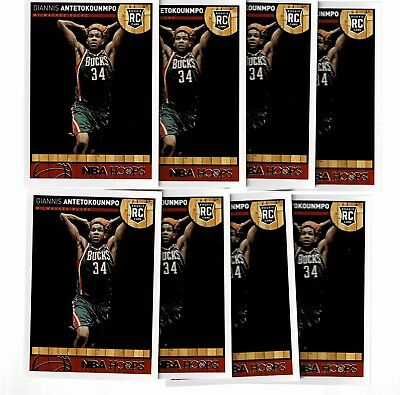 2013-14 Panini NBA Hoops Giannis Antetokounmpo RC Rookie 8 Card LOT (JD)