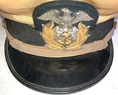 Original WWII U.S.M.S. Maritime Service NAMED Officer Dress Visor Hat