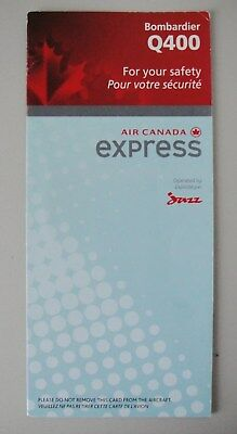 Air Canada Express Safety Card - Operated by Jazz - Bombardier Q 400