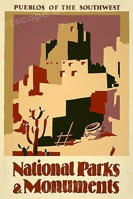 1930s Pueblos National Parks & Monuments Vintage Style WPA Travel Poster - 16x24