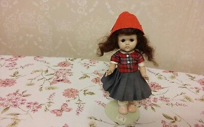 Vintage 8 inch Vogue 1950's Ginny Doll + Original Red Gray Clothes, Pink Shoes
