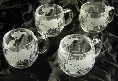 4 Vintage NESTLE Nescafe World Globe Frosted Coffee Cups/Mugs EXCELLENT