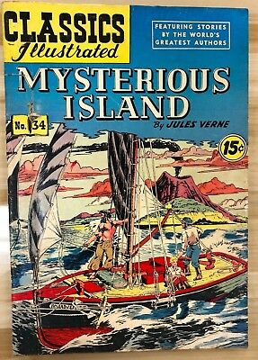 CLASSICS ILLUSTRATED #34 Mysterious Island by Jules Verne (HRN 117) G/VG