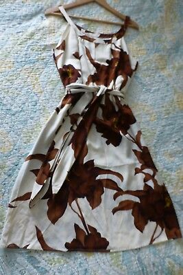 Paul and Joe France Off White Brown Floral Dress Silk M 42