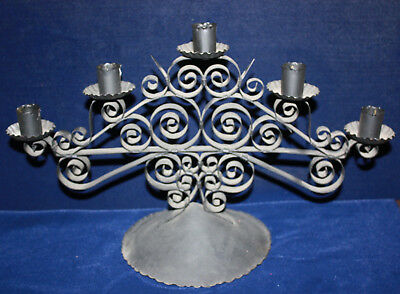 Vintage Ornate Iron / Metal Black 5 Candlestick Candelabra Candle Holder