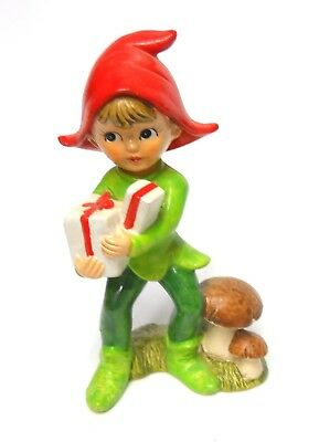 Very Cute Vintage Christmas Pixie Elf Boy With Gifts Figurine