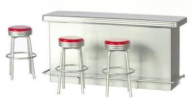 Miniature Dollhouse 1:12 Scale Diner 1950's Retro Counter W/3 Red Stools-T5938