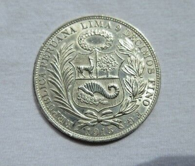 Peru Lima Mint Uncircuated 1915 F G 1 Sol Large Silver Coin 25 Grams 900 Silver