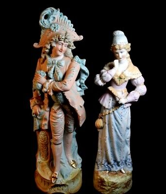 Antique Pair of Light Blue & Pink French Porcelain Bisque Figurines -Napoleon