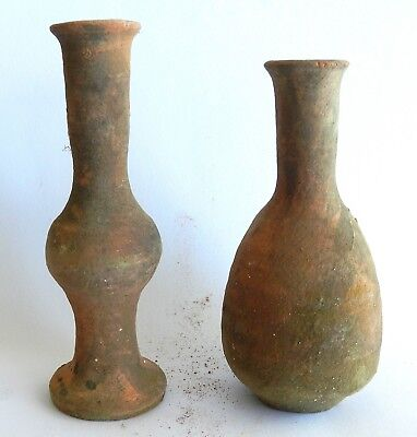 Set of 2 Biblical Ancient Herodian Roman Pottery Clay PITCHER Wine Jugs Replica