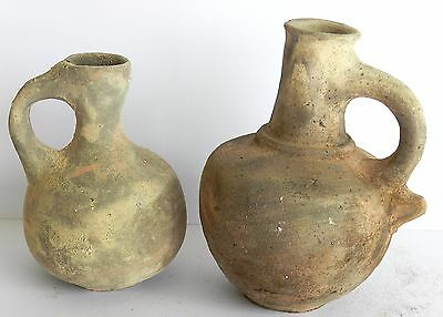 2x Biblical Ancient Antique Pitchers Roman Herodian Clay Pottery Jug Terracotta
