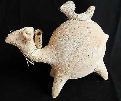 Ancient biblical Iron Age Time Camel Zoomorphic Holy Land Pottery Clay Statue