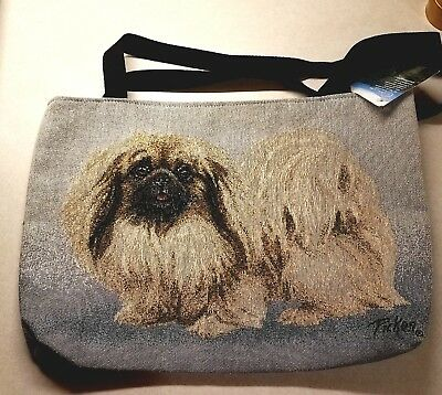 SHIH TZU Dog LARGE HEAVY CANVAS TOTE BAG NEW WITH TAGS - Embroidery Style Cute!