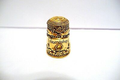 "Thimble Gold-Plated Ss 925 Fm '82 Victorian Jeweled ""friendship"" W/peridot"