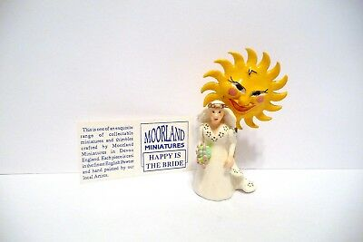 "Thimble Handpainted Moorland Miniature ""happy Is The Bride"" W/coa & Arms Moves"