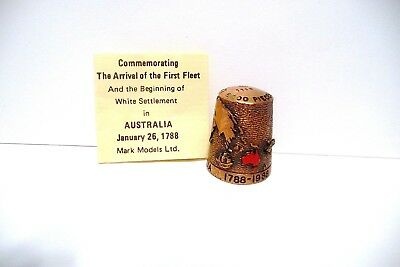 "Thimble Bronze Pan-Arts ""the Arrival Of The 1St Fleet"" Australia 1/26/1788 Coa"
