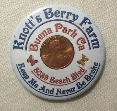 1978 Encased Cent Penny & Advertising Mirror ~ Knott's Berry Farm Buena Park Ca