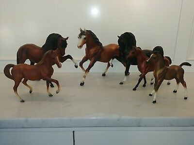 Lot of 6 VINTAGE Breyer Collectible Model Horses estate find all marked Classic
