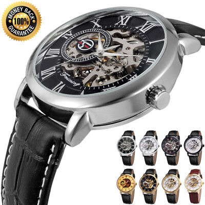 Luxury Mens Leather band Skeleton Mechanical Stainless Steel Dial Wrist Watch