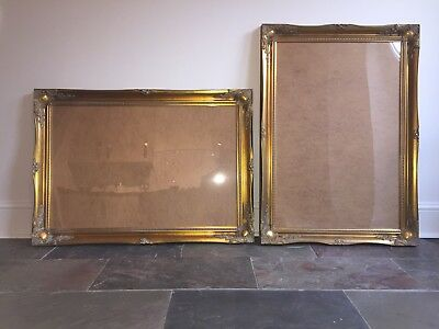 "57af1a5b935 Antique brass effect ornate swept picture poster frames X 2 gold wood 24""x  36"