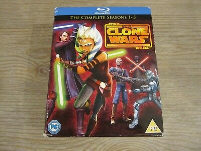 Star Wars: The Clone Wars - The Complete Seasons 1-5 (Blu-ray Disc, 2013)