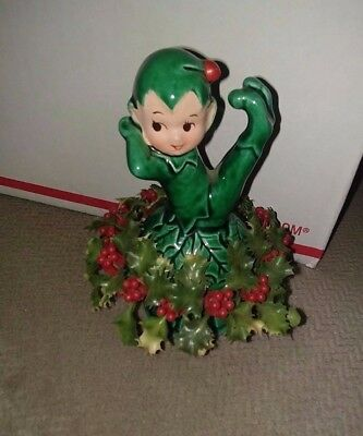 Gilner Ca Whimscal Elf Green Sitting On Mushroom @ Vtg Christmas Wreath