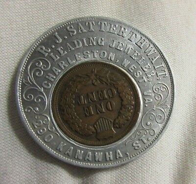 Charleston West Va Virginia ~ .r J Satterthwait Jeweler 1901 Encased Cent Penny