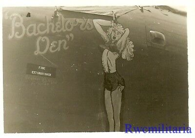 "Org. Nose Art Photo: B-24 Bomber ""BACHELOR'S DEN""!!!"