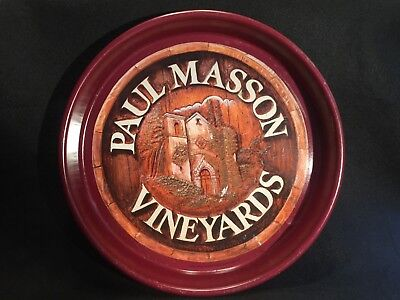 Vintage Paul Masson Vineyards Metal Serving Tray- Colorful & Hard To Find