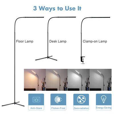 Adjustable LED Floor Lamp Light Standing Read Desk Clamp-On Gooseneck Dimmable
