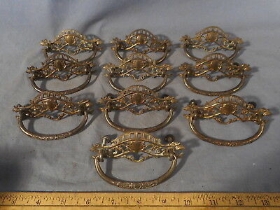 Antique Set 10 Brass Art Nouveau Victorian Ornate Drawer Pulls Handles vtg