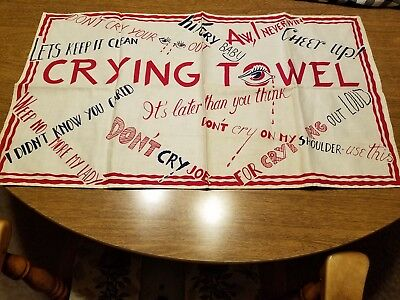 Vintage WWII Era Linen Fabric Crying Towel Funny Sayings Great Art OLD