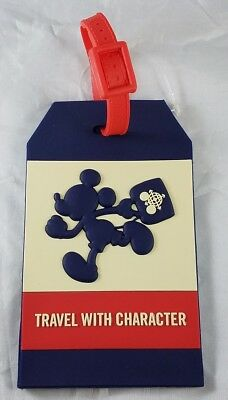 Disney Parks Mickey Mouse Suitcase Travel With Character Luggage Tag PVC - NEW