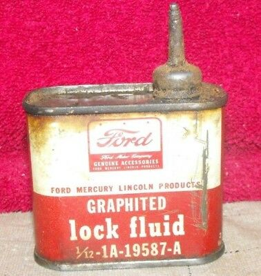 Vintage Ford Mercury Lincoln  FORD Graphited Lock Fluid Tin can Lead Spout ?