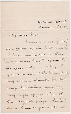 1889 New York City Letter  Atlantic Yacht Club  From Winner Of Commodore Prize