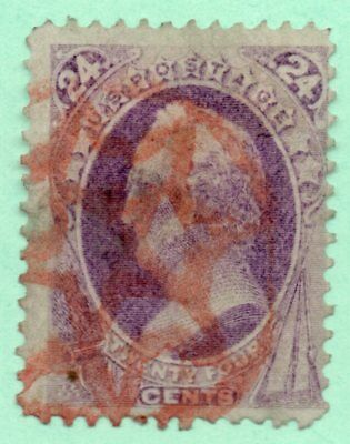 #153 / Early US Stamp / Red Fancy Cancel / Faults
