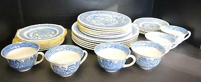 Service for 6 Vintage Myott & Sons 5 Piece Place Settings - Blue Willow Pattern