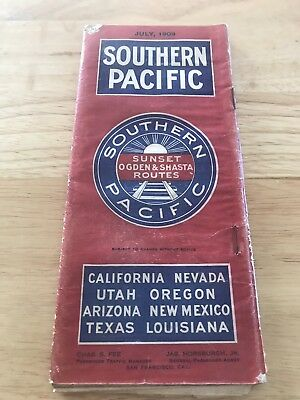 1909 Southern Pacific Ogden Shasta Routes Brochure Map California