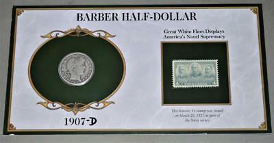1907-D Barber Half Dollar Silver Coin With Stamp On Card