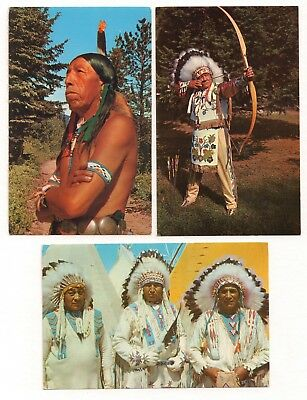 3 Native Americana Chrome Postcards