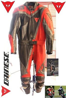 Dainese Motorcycle Racing Leather Suit Red Silver Black Size 46 Knee Sliders T3