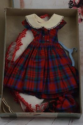 Vintage Madame Alexander Cissy Doll Plaid Dress with Accessories in Original Box