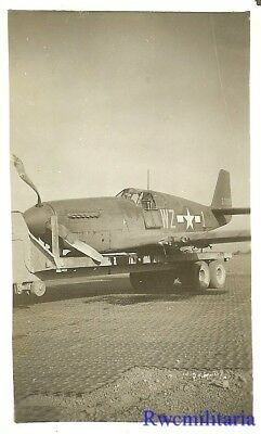 Org. Photo: Crashed 31st Fighter Group P-51 Fighter Plane (#43-7020) on Trailer!