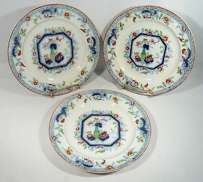3 Francis F. Morley & Co. 10.5 inch Flow Blue & Polychrome Dinner Plates c. 1850