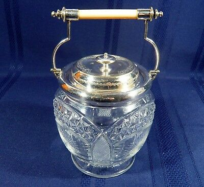 RARE Antique Cut Crystal & Silver Plate Biscuit Cookie Jar Barrel ABP c1890