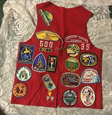 20+ Boyscout/ Cub  Patches Sewn On Red Felt Vest Years 73-76