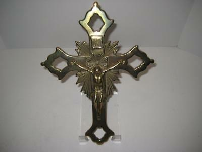 Vintage Ornate Brass Crucifix Jesus on Cross Wall Hanging Made Italy Religious