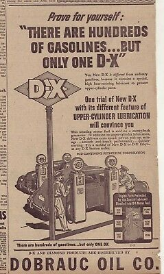 1945 newspaper ad for D-X Gasoline - Service station scene, only one D-X