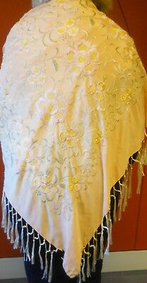 """ANTIQUE PIANO SCARF W/BEAUTIFUL EMBROIDERED DESIGN IN THE CENTER-SILK- 50"""" x 51"""""""